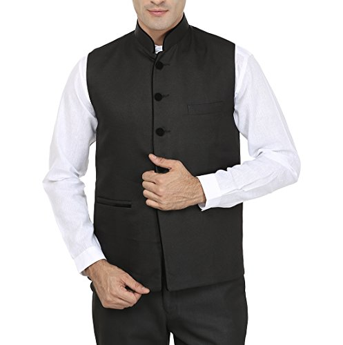 Wintage Men's Poly Cotton Bandhgala Festive Black Nehru Jacket Waistcoat