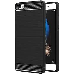 """Funda Huawei P8 Lite, AICEK Huawei P8 Lite Funda Negro Gel de Silicona P8 Lite Carcasa Fibra de Carbono Funda para P8 Lite 5.0"""""""