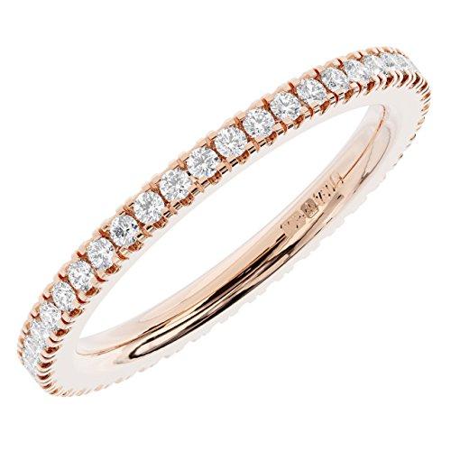 Brand new 0.30ct turno brillanti half eternity anello nuziale disponibile in oro bianco, giallo e rosa 18carati solid marchiato da assay office londra e 18ct rosa oro, 54 (17.2), cod. fr1232