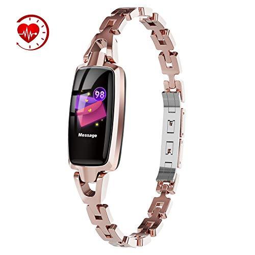Ultradünne Smart Armband für Frauen wasserdichte Herzfrequenz und Blutdruck Monitor Schlaf Monitor Kalorien Zähler Uhr weibliche Zyklus Erinnerung,Rosegold