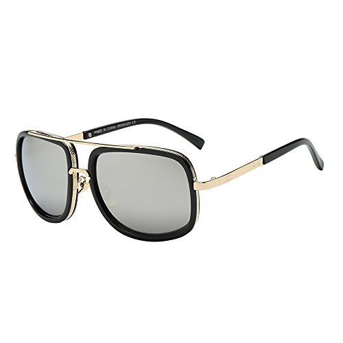Likecrazy Klassische Sonnenbrillen Damen Herren Mode Quadrate Metallrahmen Erwachsene Retro Runde...