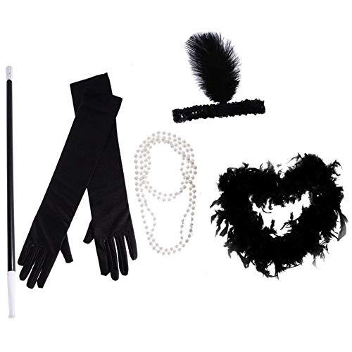 TOOGOO Conjunto de Vestuario Sostenedor de Cigarro Perlas de Collar de Ni?a Moderna Boa Diadema de Plumas y Guantes Largos para Disfraz Femenino