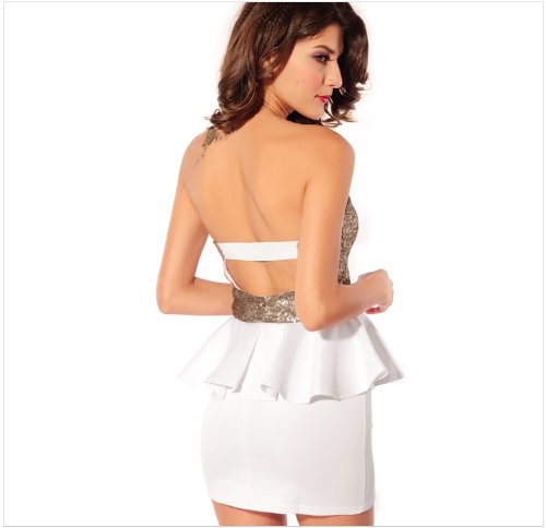 Blansdi sexy Clubwear Mini Slim Fit Soir¨¦e Cocktail sans bretelles sans manche Peplum robe d'or Blanc
