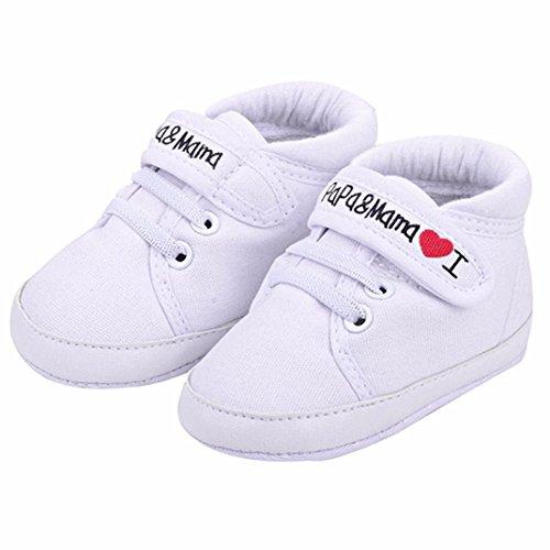 Auxma Niedlich Kind Baby Säugling Junge Mädchen weiche Sohle Kleinkind Schuhe Leinwand Sneak (0-6 Monat, Weiß) (Weiße Bow Leder)