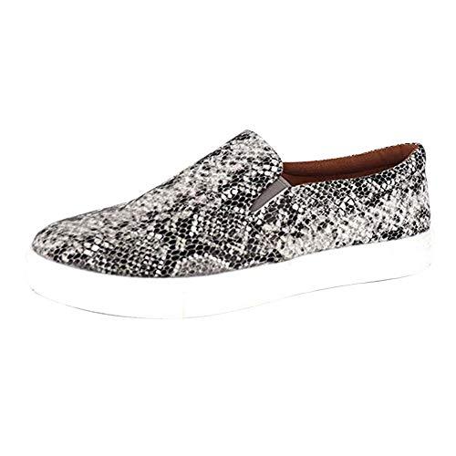 Puimentiua Zapatos Mocasines para Mujer Zapatillas Planas Alpargatas de Lona Antideslizante Leopardo