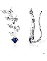 688af3272281 ZHWM Pendientes De clip Aros Royal Blue Ear Climber Zirconia Hojas Rama 925  De Plata De Ley para Mujeres Joyería De…