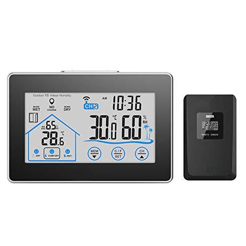 C Five Wetterstation Uhr mit Außensensor LCD-Bildschirm Indoor Outdoor Thermometer und Hygrometer Wettervorhersage Alarm Cloc Temperatur Luftfeuchtigkeit Schlummerfunktion
