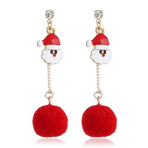 TONVER Weihnachts-Ohrringe, 1 Paar, vergoldet, Weihnachtsmütze, Dekoration, Modeschmuck, Ohrring für Frauen und Mädchen Santa ()