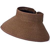 Vococal - Plegable Grande Ala Playa Paja Sol Sombrero del Verano Casquillo del Sombrero de Visera para Viajar al Aire Libre Mujer,Marrón