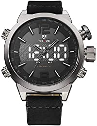14b4027cd6f3 Reloj analógico de Cuarzo WEIDE para Hombre con Pantalla LED Dual de  visualización de la Hora