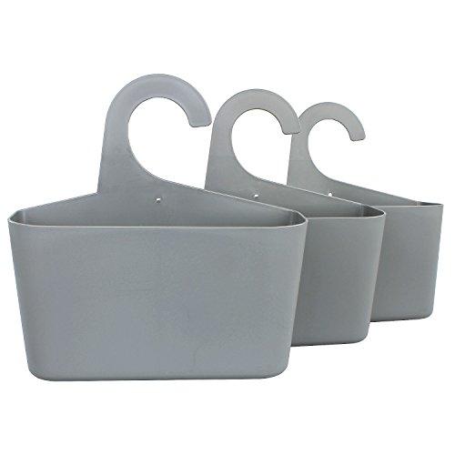 meberg LA05 3er Set Duschkörbe zum hängen Grau/aus Kunststoff, für Bad, Küche UVM. Stabile Aufbewahrungskörbe Utensilienbehälter Hängekorb
