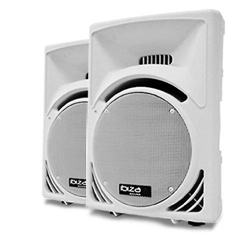 Ibiza Par de altavoces de suelo pasivos 38cm DJ PA 1400W ABS Blanco
