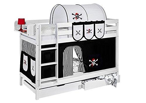 Lilokids Etagenbett Jelle TÜV und GS geprüft Pirat, Spielbett mit Vorhang und Lattenroste Kinderbett, Holz, schwarz / weiß, 198 x 98 x 150 cm