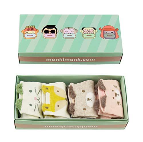 monkimonk - Süße bunte Socken aus Baumwolle für Damen und Mädchen in verschiedenen farbenfrohen Mustern und Tiermotiven (Blau, Grün, Rosa, Beige) -
