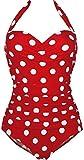 Retro Vintage-Stil, Blumen-Motiv, Weiß mit Punkten Bademode Monokinis 1 Stück, Rot dot, XXX-Large
