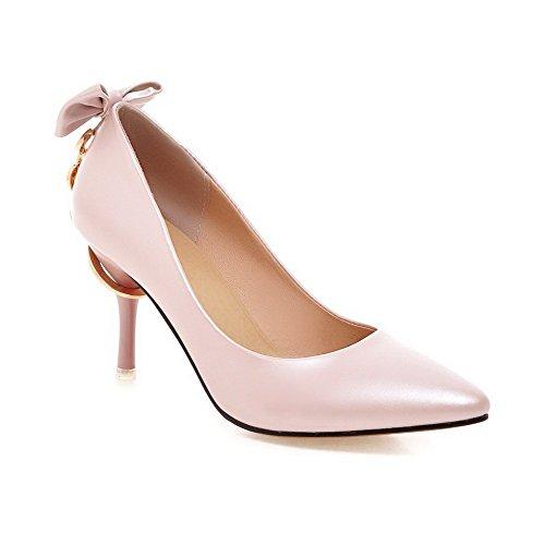 AllhqFashion Damen Pu Rein Spitz Schließen Zehe Stiletto Pumps Schuhe, Pink, 40