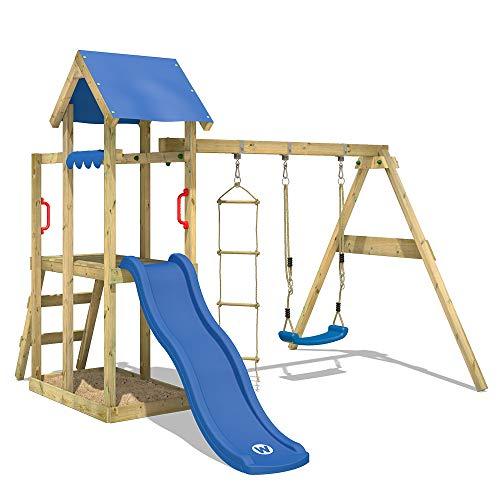 WICKEY Aire de jeux TinyPlace Jeu de plein air avec balançoire et toboggan, bac à sable et échelle de corde,...