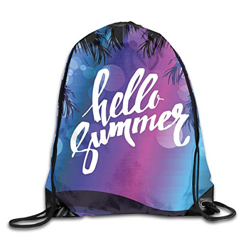 EELKKO Drawstring Backpack Gym Bags Storage Backpack, Vivid Colors of The Night with Palm Tree Silhouettes and Ocean Waves Retro,Deluxe Bundle Backpack Outdoor Sports Portable Daypack -