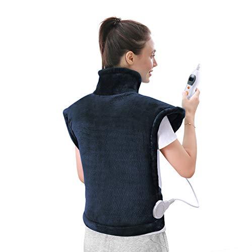 Heizkissen für Rücken Schulter Nacken Abschaltautomatik Wärmekissen und Schneller Heiztechnologie für Entlastung von Rücken und Schultern Heizdecke aus Angenehmem Flanellmaterial