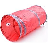 KingNew Bolsa plegable para mascotas, túnel, gato, gatito, hurones, con timbre, colorida, 50 cm, color rojo