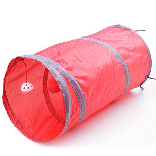 Kingnew Portable Pet Bag, faltbare Pet Tunnel Katze Kätzchen Frettchen Crinkle mit Ring Bell, 50cm (rot) -