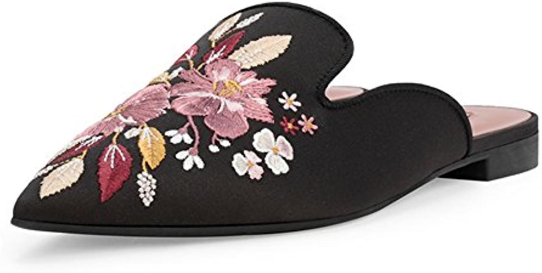 ZHIRONG Zapatos solos de las mujeres Primavera negra y bordado de la vendimia del verano Florece la boca poco...