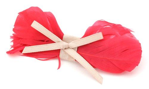 Rot-haar-feder-haar-bogen (Rot Feder Schleife Haar Slide (Clip) mit Taupe Bogen von Zest)