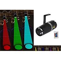 TOM LED 9W RGB 3 - en - 1 Pin Spot Light con Gobo y haz las luces del escenario por el controlador remoto IR