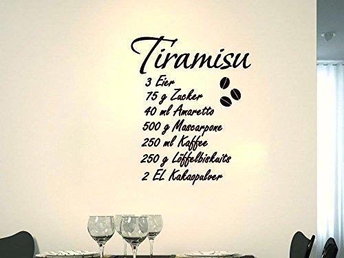Wandtattoo Wandaufkleber Wanddeko für Küche Spruch Dessert Rezept Tiramisu (137x110cm//080 braun)