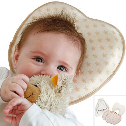Cuscino Anti Testa Piatta per Neonato contro Plagiocefalia - Prevenzione e Cura della Deformazione del Cranio– Sfoderabile, con 2 Fodere in Cotone Biologico – (Brown Stars, Cotton Bag)