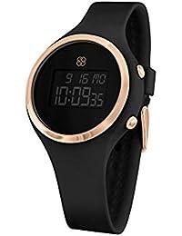 Daisy Fuentes Digital reloj de pulsera para mujer, banda de silicona, negro & oro
