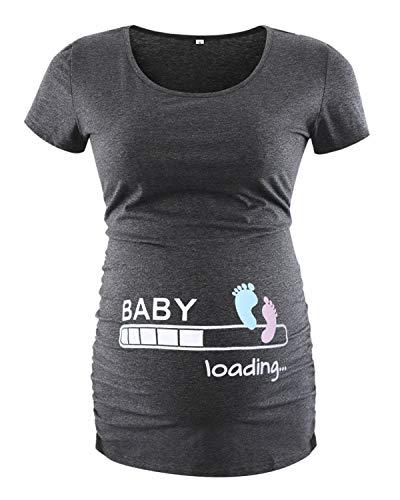Allen Allen Damen Kleidung (Love2Mi Damen Kurzarm Umstandsshirt Mutterschaft Klassische Seite Geraffte T-Shirt Tops Mama Schwangerschaft Kleidung, Knöchelprint, M)
