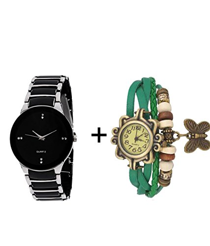 GTC COMBO OF BLACK & SILVER QUARTZ ANALOG WATCH FOR MAN WITH GREEN DESIGNER ...