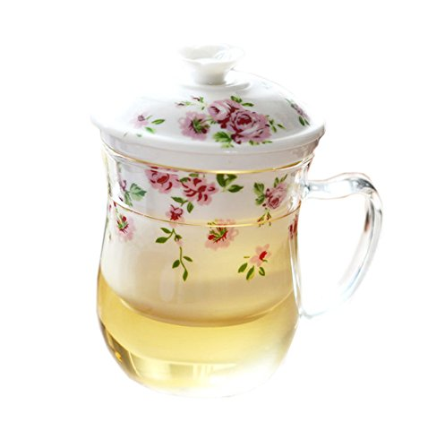blanco 3-pieza de vidrio resistente al calor gruesa creativa perfumado taza de té con filtro de cerámica, modelo de flores de pequeña tapa de color rosa flores-impresas