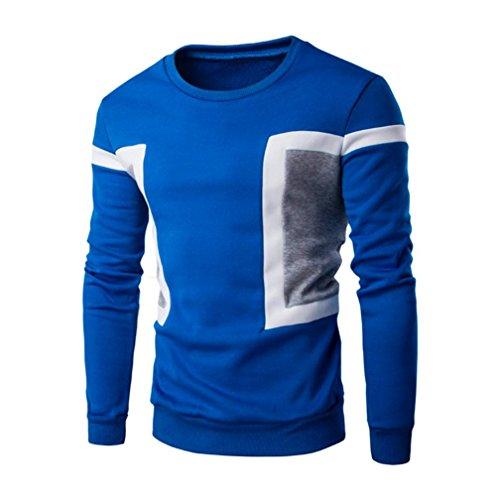 Kobay Herren Langarm Patchwork Hoodie Sweatshirt Tops Jacke Mantel Outwear Schwarz Blau Weiß Herren Drei-viertel-länge-mantel