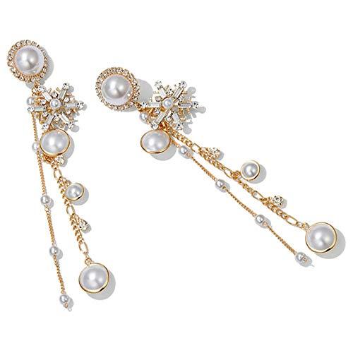 Ohrstecker Damen Ohrstecker Lange Ohrhänger Baumeln Ohrschmuck Anhänger Zubehör Earrings Perfektes Geschenk Perlenohrringe für Damen Mädchen Geschenke