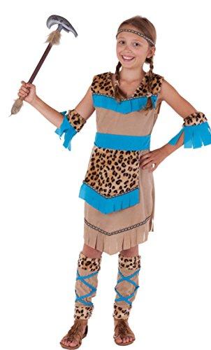 sten - komplettes Indianer Kostüm Mädchen beige-blau - Indianerin Kostüm Kinder (122/128) (Leopard Halloween-kostüme Für Mädchen)