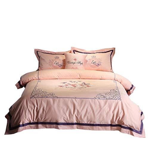 ZHFC Bettwäsche,Winter Bettwäsche Tröster Set, 60 Satin Floral Jacquard Luxus Qualität Premium Bettwäsche-Kollektion, Reißverschluss schützt Ihren Tröster,A1_Queen 200 * 230cm -