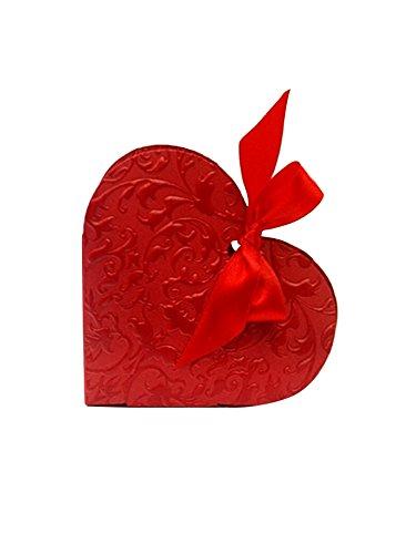 50 cuori decorativi con fiocco, per feste e matrimoni, da regalare agli ospiti, colore: rosso