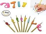 Pencil Grips, Louzedaya Universal Silicona los niños Lápiz Soporte pluma escritura ayuda agarre postura corrección herramienta Lápices ergonómicos nuevo 8 pcs (Colorful)
