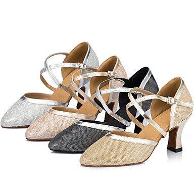 Silence @ Chaussures de danse pour femme en satin satiné moderne talons Stiletto Talon Intérieur Noir/ivoire/argent/doré champagne