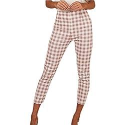 BingSai Pantalones de Mujer a Cuadros, Estilo Vintage, Sexy, Cintura Alta Rosa Rosa XS