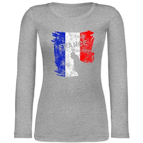 Shirtracer Fußball-Europameisterschaft 2020 - France mit Hahn Vintage - M - Grau meliert - BCTW071 - Langarmshirt Damen -