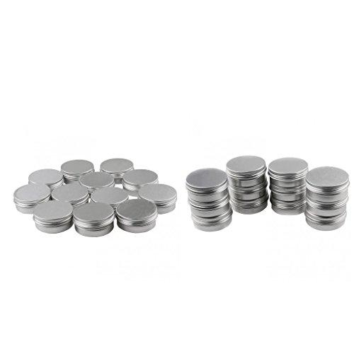 MagiDeal Lot de 24 Pot Boite Ronde Vide avec Couvercle en Aluminium de Baume à Lèvres / Crème Cosmétique / Vernis à Ongles / Pommade 60g (2oz)