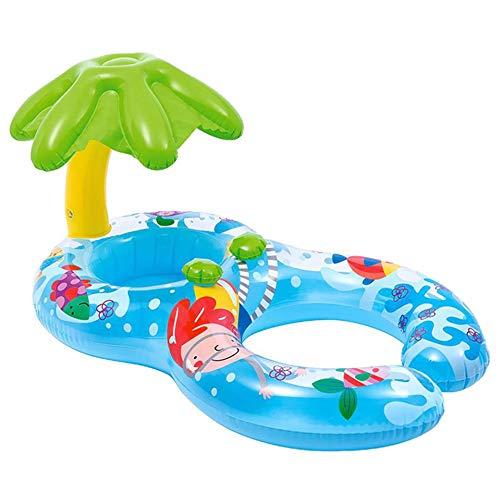 TXDY Baby-Schlauchboot-Schwimmringe, Eltern-Kind-Pool einziehbarer schwimmender Schwimmring mit Markisen-Mama und Baby-Sicherheits-Schwimmsitz - 6 Monate - 3 Jahre alt