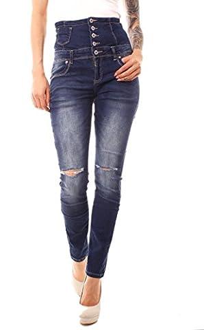 Damen High Waist Röhren Stretch Jeans Hose mit hohem Bund