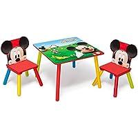 Preisvergleich für Disney Mickey Mouse Tisch mit Stühlen 60x60cm Holz Kindersitzgruppe Kindersitzgarnitur NEU