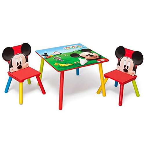 Disney Mickey Mouse Tisch mit Stühlen 60x60cm Holz Kindersitzgruppe Kindersitzgarnitur NEU