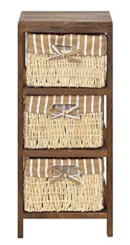 ts-ideen Landhaus Kommode Bad Flur Regal Schrank Natur Braun im Shabby Vintage Look mit 3 Körben für Flur Wohnzimmer Kinderzimmer Bad oder Diele