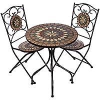 Hochwertiges Aufwendig Gearbeitetes Mosaik Tisch Set, NA1514 B33 + 32  Stabiles Gartenmöbel Set,
